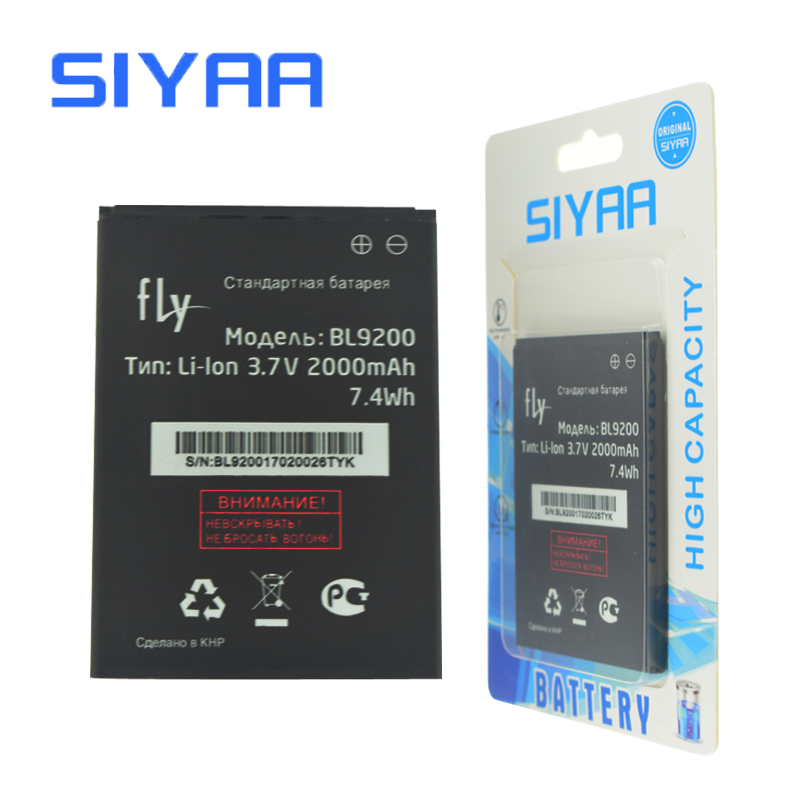 SIYAA Original BL9200 Battery For Fly FS504 Cirrus2 BL 9200 High Capacity 2000mAh Replacement Lithium Polymer Batteries