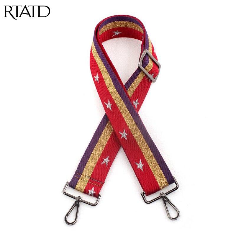 RTATD Adjust Stars Women Handbags Strap Easy Matching Bag Belts Canvas Design National Buckle Trendy Shoulder Straps B117