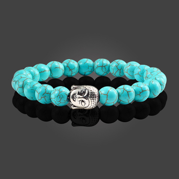 Classic Sliver Plated Buddha Beads Bracelets&Bangles Charm Men Black Natural Volcanic Stone Strand Bracelet Women Prayer Jewelry 4