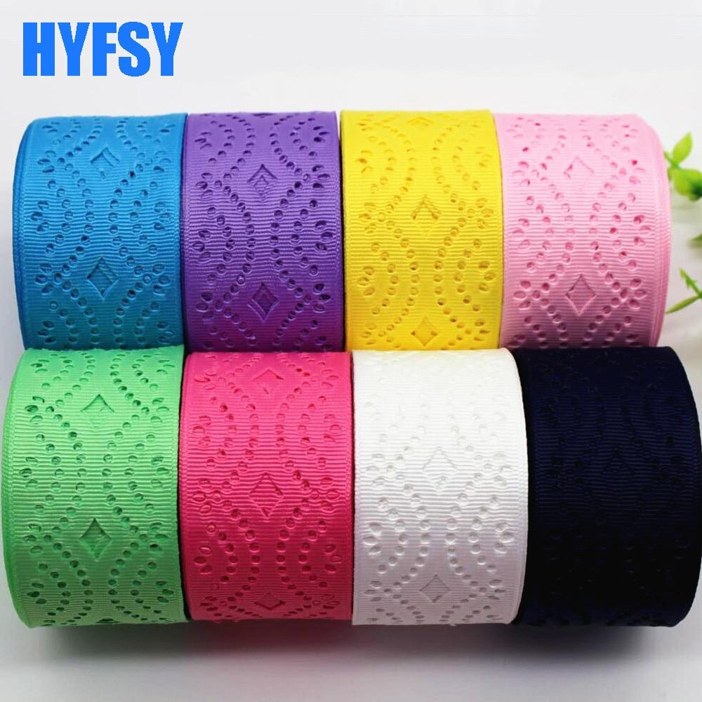 Hyfsy 10037 мм 38 мм полые кружево лента 10 ярдов подарочная упаковка «Сделай сам» головные уборы вручную изготовленная лента Grosgrain ленты