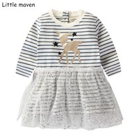 Little Maven Kids Dresses For Girls 2017 Autumn New Baby Girls Clothes Cotton Stripped Deer Dress