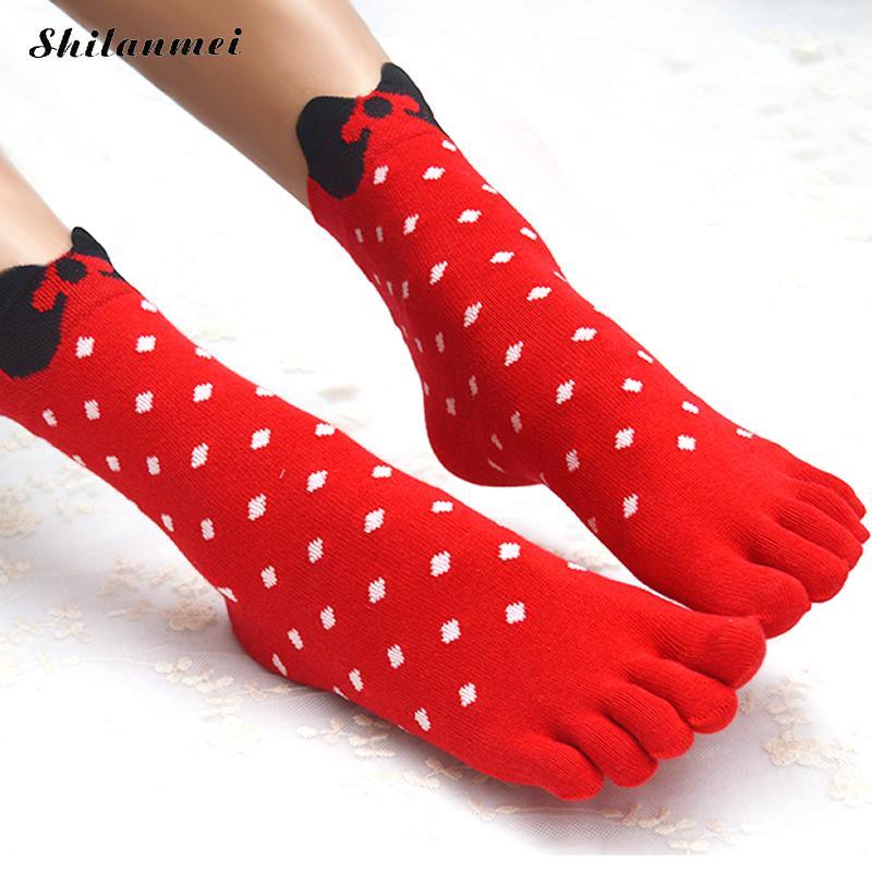 2016 New Arrival Bow knot Toe Socks 3D Printed Cute Dot Five Finger Socks Christmas for Women Girl Socks Hot Selling 10 Pairs