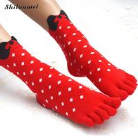 2016 New Arrival Bow knot Toe Socks 3D Printed Cute Dot Five Finger Socks Christmas for Women Girl Socks Hot Selling 10 Pairs