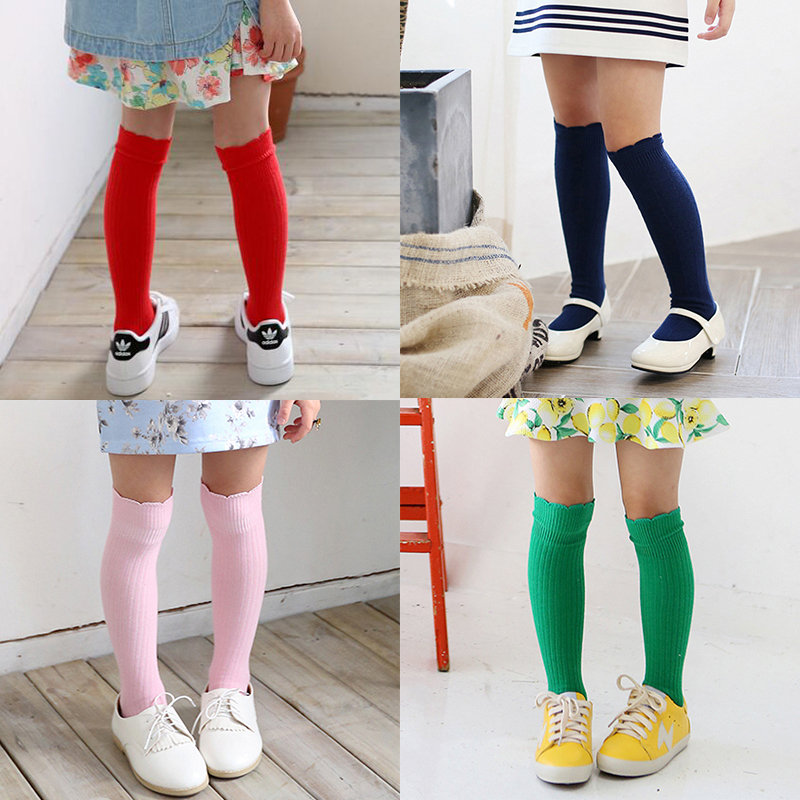 2017-New-Spring-Summer-Baby-Girls-Cotton-Knee-High-Socks-Kids-Toddle-Double-Needle-Short-Socks-2