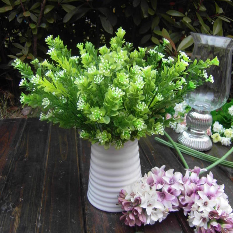 Keythemelife Artificial Plant Flower Green Milan Grass Rare Garden Landscape Fake Flower Home Decor D