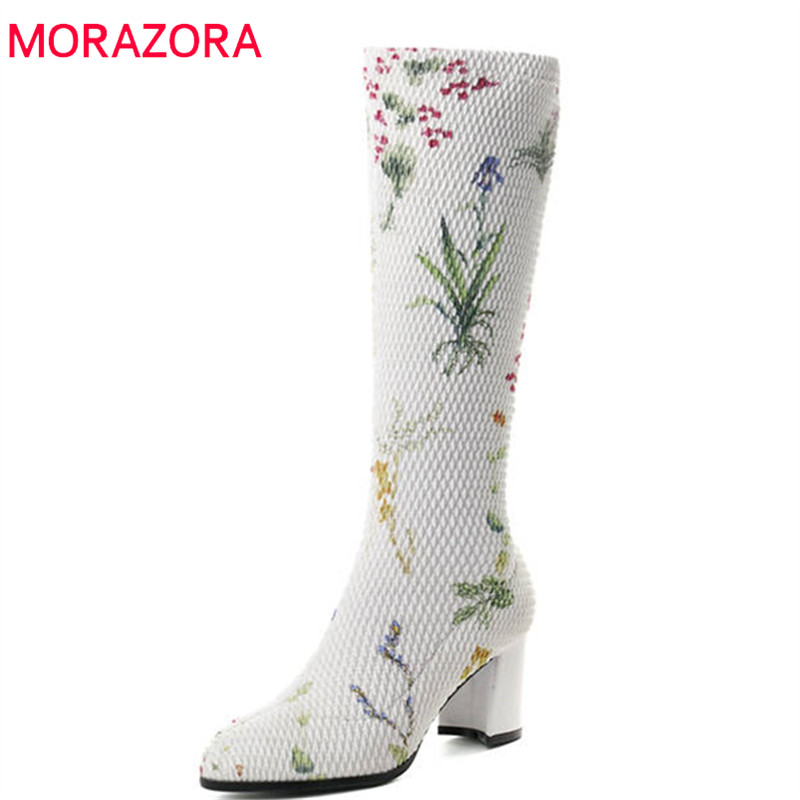 MORAZORA 2018 new arrival knee high boots women top quality autumn boots pointed toe high heels boots fashion party shoes woman morazora 2018 new arrival knee high boots women pointed toe autumn winter boots sequined cloth sexy thin high heels shoes woman