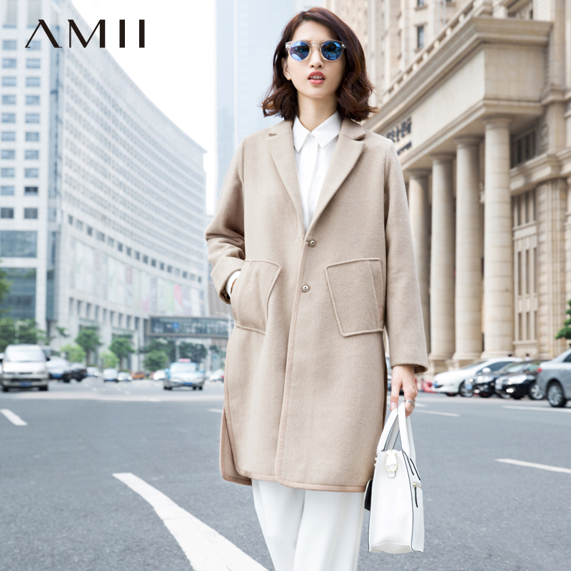 Amii Casual Women Woolen Coat 2018 Winter Single Breasted Turn down Collar Pocket Female Wool Blends
