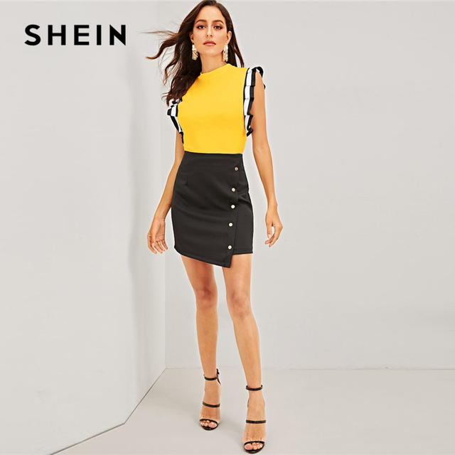 Yellow Mock Neck Striped Pleated Ruffle Armhole Top Women Stand Collar Sleeveless T-shirt Ladies Spring Stretchy Tees
