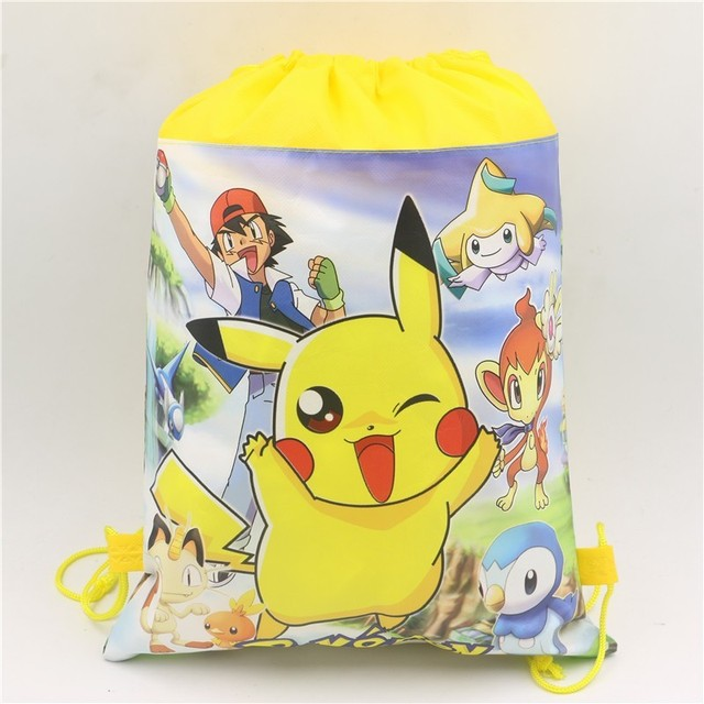 Hot Cartoon Pokemon Go Non Woven Fabric Backpack Drawstring Bags Baby Birthday Party Decoration Favors