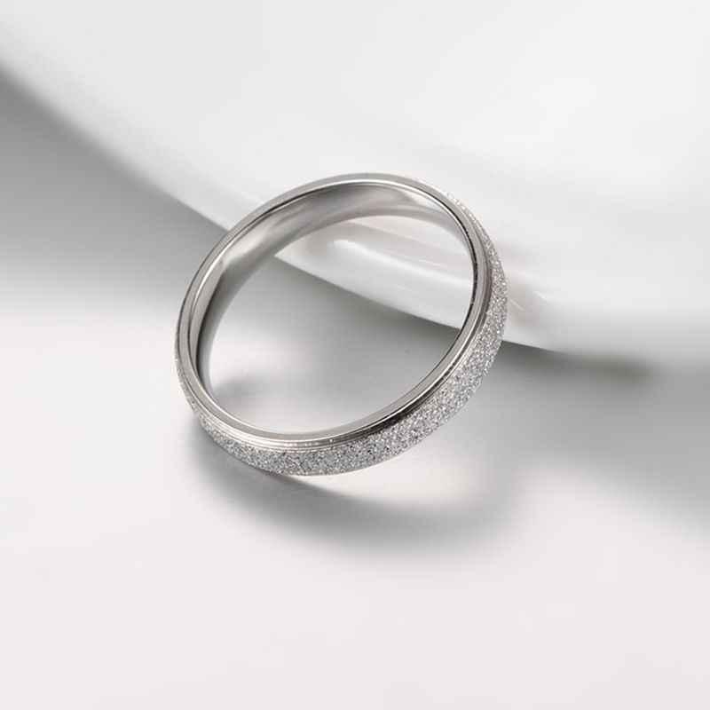 คุณภาพสูงแฟชั่นขัดสแตนเลสผู้หญิงแหวน 4 มม.กว้างRose Goldสีนิ้วมือของขวัญสาวเครื่องประดับ