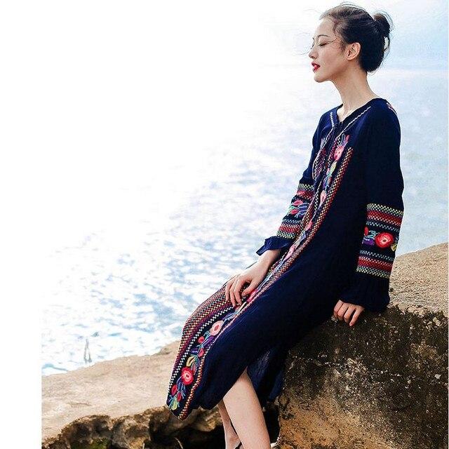 Voorjaar 2016 Vrouwen Zomer Jurk Fashion Vintage Hoge Kwaliteit Bloemen Geborduurde Jurken Bohemian Strand Lange Maxi Jurk Vestidos