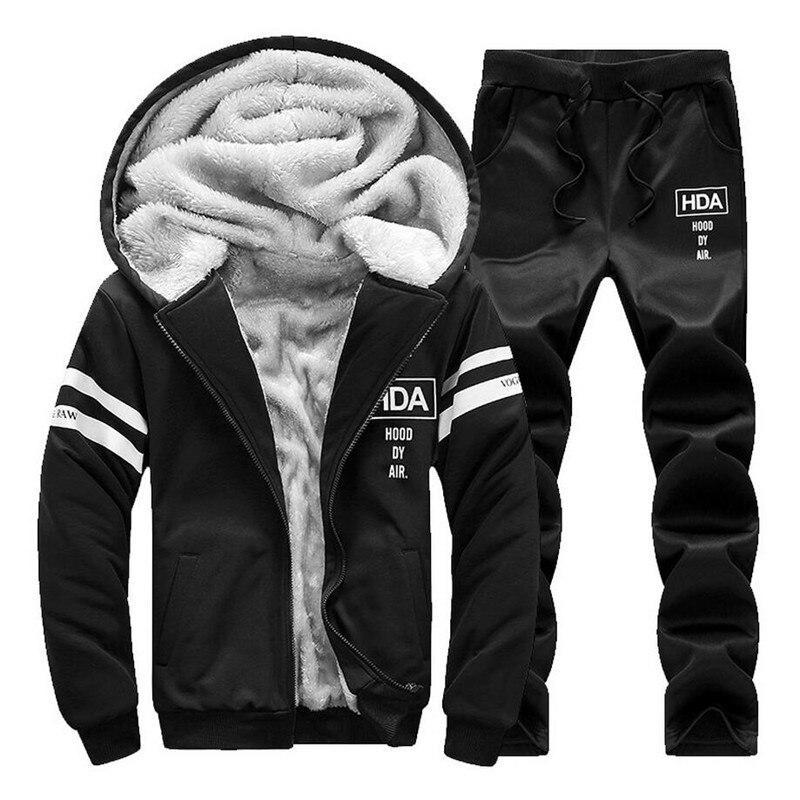 New Autumn Winter Warm Suit Sportswear Sets Casual Sweatshirt Thick Velvet Clothing Sets Tracksuit Men Hooded Sportssuit 4XL