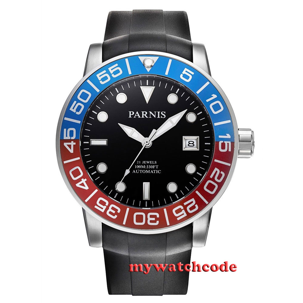 42mm Parnis black dial Sapphire glass 21 jewel Miyota automatic mens watch P393 40mm parnis white dial sapphire glass 21 jewel miyota automatic mens watch