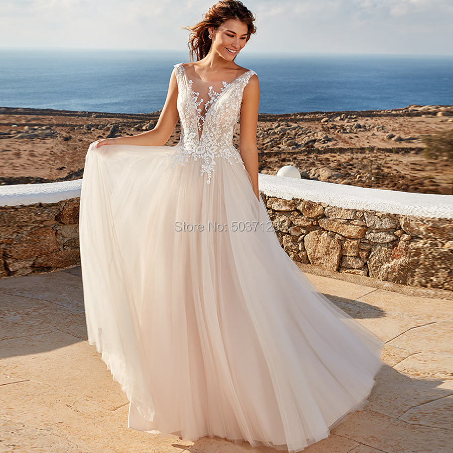 Beach Wedding Dresses Tulle Vestido De Noiva A Line Deep V Neck Sleeveless Open Back Lace Appliques Bridal Wedding Gown Mariage