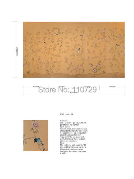 Home decoration wall material Hand-painted silk wallpaper painting Cherry with Peacock many pictures optional diy beads painting flower cross stitch wall decoration