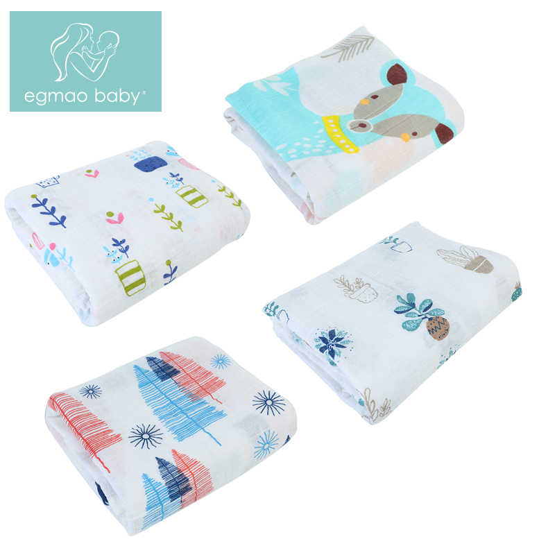 EGMAOBABY 1Pc  100% Cotton Baby Swaddles Soft Newborn Blankets Bath Gauze Infant Wrap sleepsack Stroller cover Play Mat