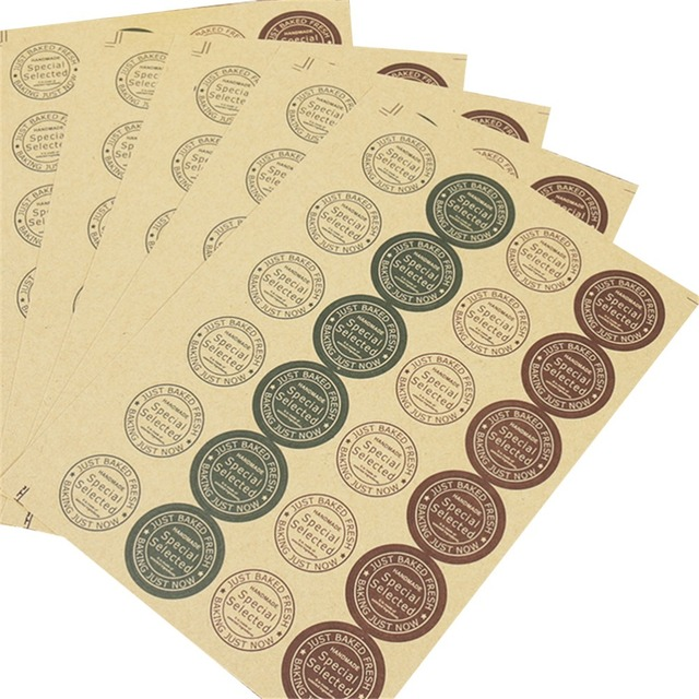 120 pcs adhesive paper tags scrapbooking note kraft labels round letter print memo stickers cake baking