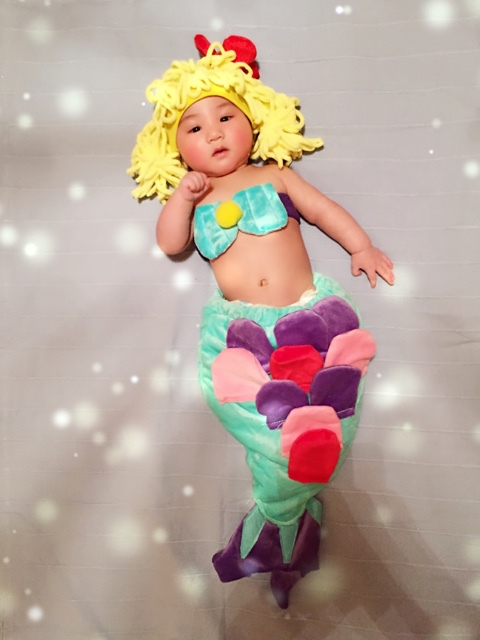 Jane Z Ann Baby plush mermaid costume infantil toddler mermaid 3pcs clothes hat+bra+tail photography props halloween outfits