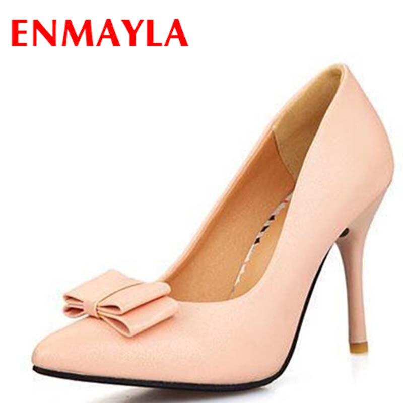d914e51a8 ENMAYLA Preto Rosa Bege Sapatos de Salto Alto Mulheres Bombas Doce Bowtie  Senhoras Sapatos Escritório Sapatos Mulher Tamanho 43 em Bombas das mulheres  de ...