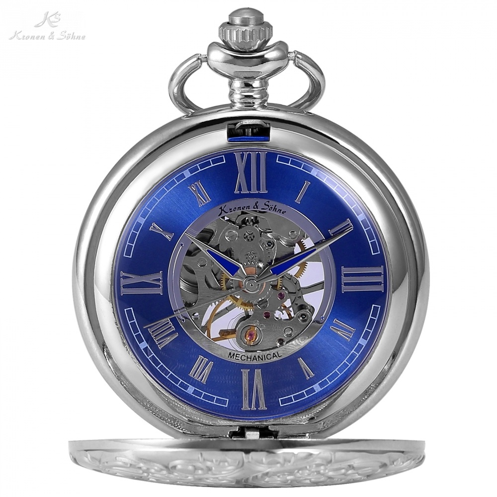 KS Steampunk Skeleton Roman Mechanical Blue Pocket Watch Men Vintage Hand Winding Clock Fob Watches With Long Chain +Box /KSP071 shuhang rose cooper mechanical hand winding pocket watch octagon shape roman number skeleton clock pendant with chain best gift
