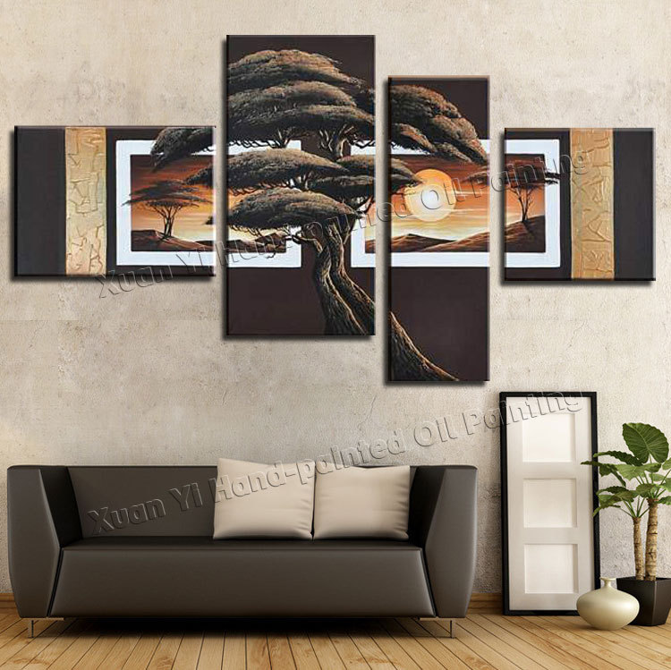4 Piece Canvas Wall Art 100% Hand painted Forest Sun Modern Abstract Landscape Wall Decoration Oil Painting On Canvas