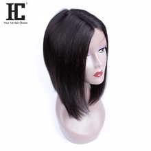 HC Lace Front Human Hair Wigs Middle Part For Black Women Brazilian Straight Hair Fashion Short BOB Wig Non Remy Free Shipping