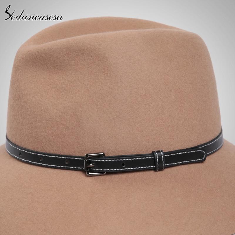 Sedancasesa New Australia Wool Felt Hat England women Fedora Hat wide brim  hats for elegant lady hat Christmas GIfts FW027059-in Fedoras from Apparel  ... dcff6948e999