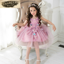 3-8 years old Children's dresses Petals Dress Pageant Wedding Bridal Dress Children Bridesmaid Toddler Elegant ball gown Dress