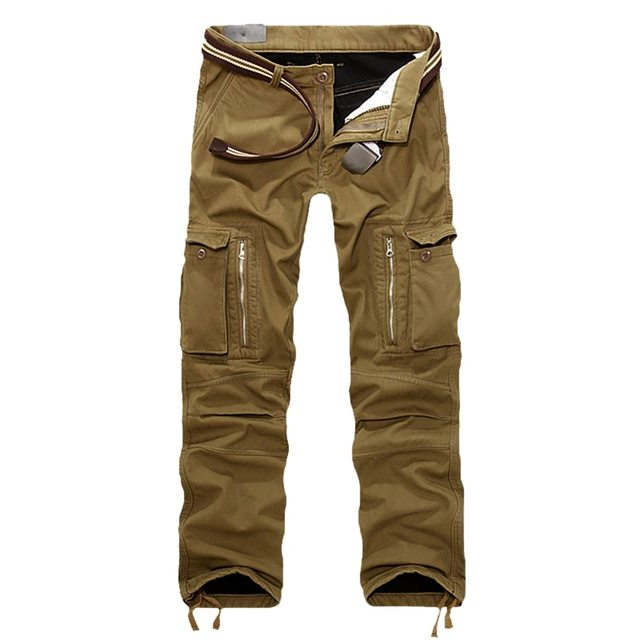 0d4ab3942b8 SHUJIN Men Cargo Pants Plus size Winter Thick Warm Pants Full Length Multi  Pocket Casual Military Baggy Tactical Trousers 2018