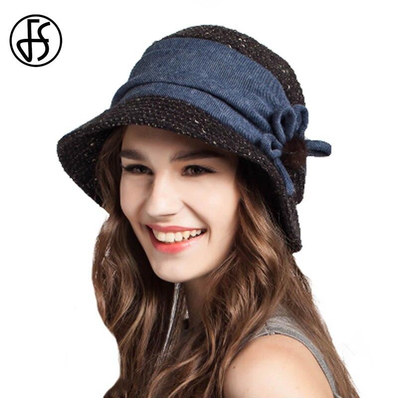 4151abc3cbd FS Winter Women Floppy Flowers Wool Bucket Hat Black Khaki Orange Women  Fashion Fisherman Cap Keep Warm Female Casual Hats