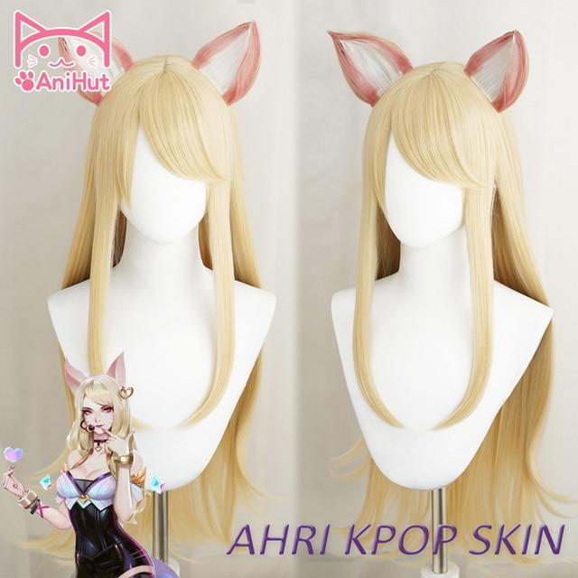 【Anihut】LOL Game Ahri Cosplay Wig with ears KDA POP/STAR Ahri Cosplay Wig Women Long Straight Blonde Wig LOL KDA KPOP SKIN Hair