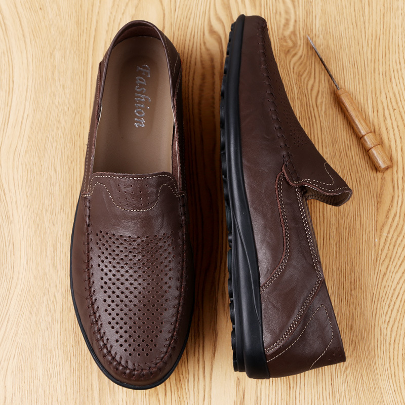 Genuine Leather Men Casual Shoes Luxury Brand 2019 Mens Loafers Moccasins Breathable Slip On Black Driving Shoes Plus Size 37-47 4