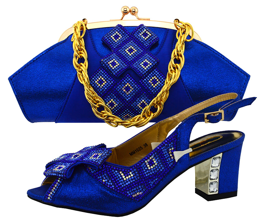 ФОТО Summer Style Rhinestone Shoes And Matching Bag Set Africa Woman Middle Heels Shoes And Bag Set For Evening Party 6Colors MM1025