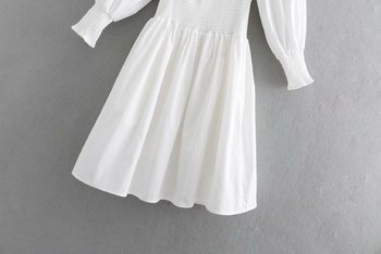 White Lace Trim | 2019 Summer Women Vintage Frill Trim Square Neck Lace Up Waist Cotton White Short Dress With Puff Short Sleeve Hollow Out Front