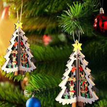 Sale 1PC DIY Star Christmas Tree Wooden Pendants Ornaments Party Decorations Kids Gifts