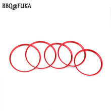 BBQ@FUKA 5pcs Red Air Condition Trim Air Vent Outlet Ring Cover Circle Fit For Mercedes Benz A/B/CLA/GLA Class 180 200 220 2015