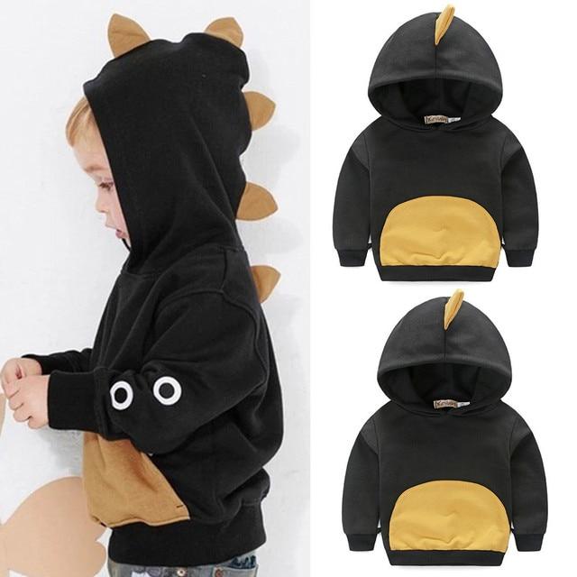 MUQGEW Toddler Baby Boys Long Sleeves Dinosaur Hoodie Tops T-shirt Kids Clothes