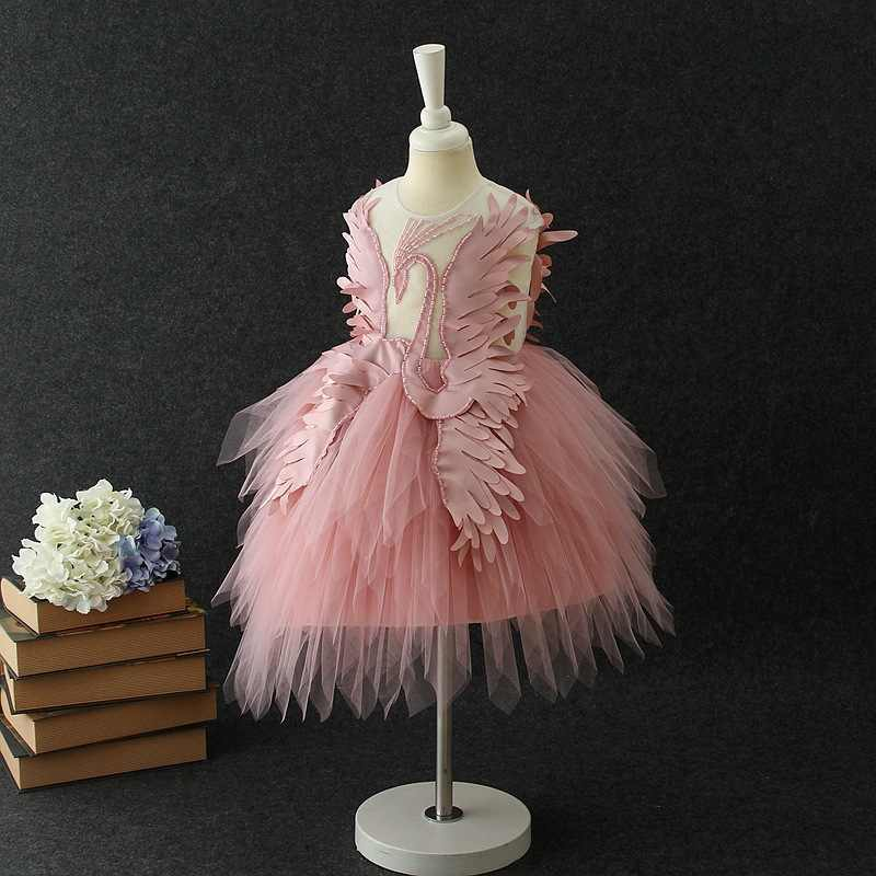 Swan dress Events Party Wear Tutu Tulle Infant Christening Gowns Children's Princess Dresses For Girls Toddler Evening Dress
