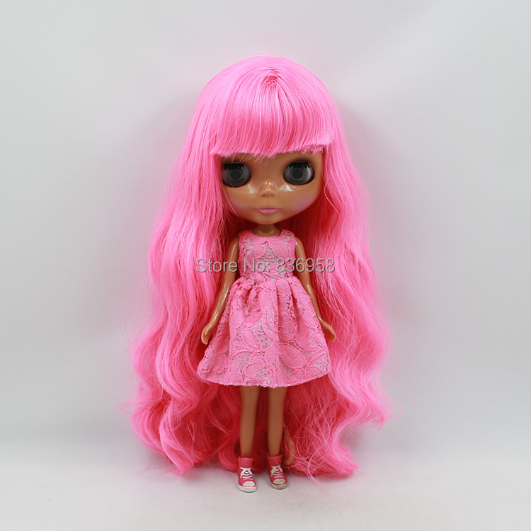 free shipping blyth doll icy licca body 300BL2369 with bangs pink Long hair dark skin 1/6 30cm gift toy цена и фото