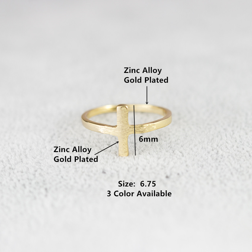 DIANSHANGKAITUOZHE Classic Minimalism Cross Rose Gold Finger Rings Women Men Stainless Steel Retro Religious Gifts Anello Uomo
