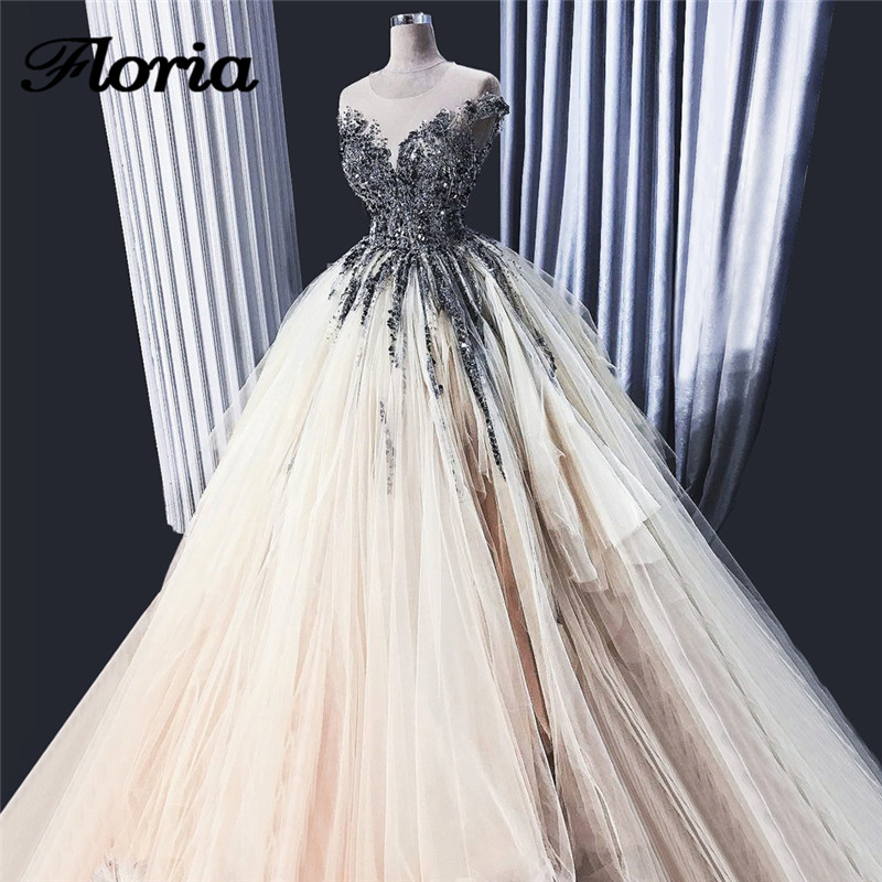 Luxury African Ball Gown Evening Dresses 2018 Aibye Muslim Sleeveless Beads Formal Prom Dress Turkish Party Gowns Robe de soiree