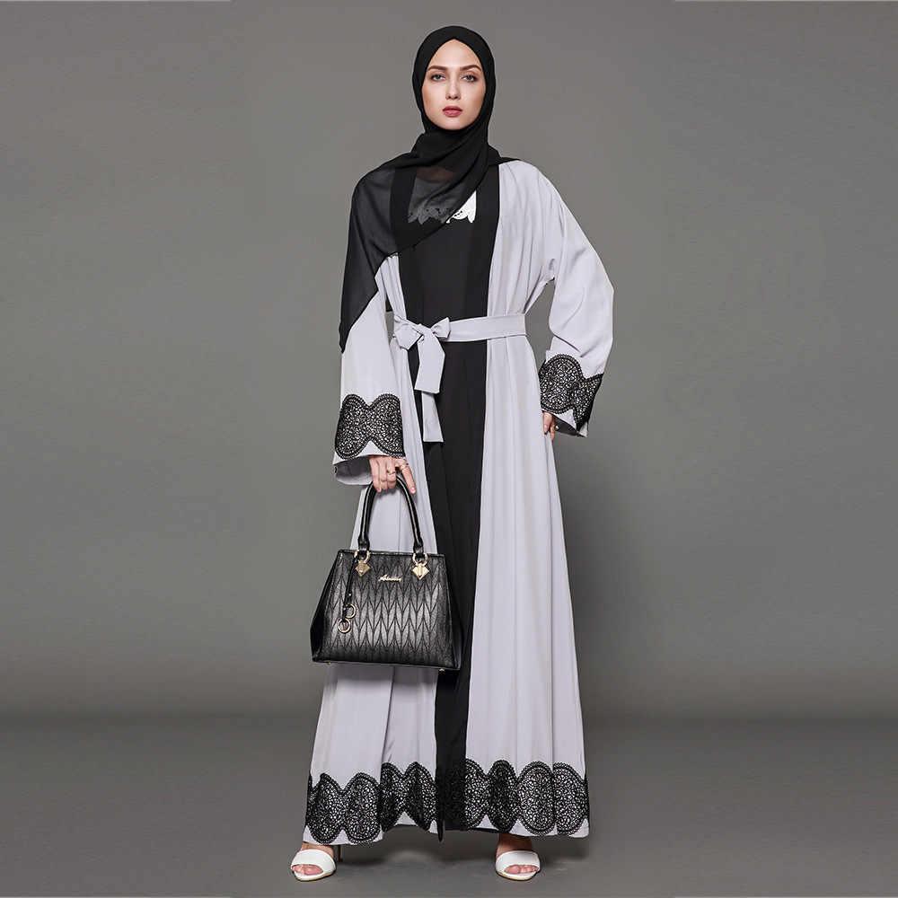 2019 новые большие размеры мусульманское кимоно абайя кардиган платье для женщин Ближний Восток Дубай светло-серые длинные платья S-5XL