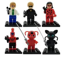6PCS/SET Miraculous Ladybug Action Figure Toys Assembled Building Blocks