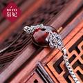 Стерлингового серебра 925 принцесса девушки друг подарок ретро женщины ювелирные изделия природные самоцветы гранатовый браслет классический