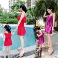 Hot 2016 Verão Marcas de Roupas Da Família Equipado Mãe + filha Meninas Flouncing Suspensórios Vestido de Praia vestido de Princesa Vestido de Bebê
