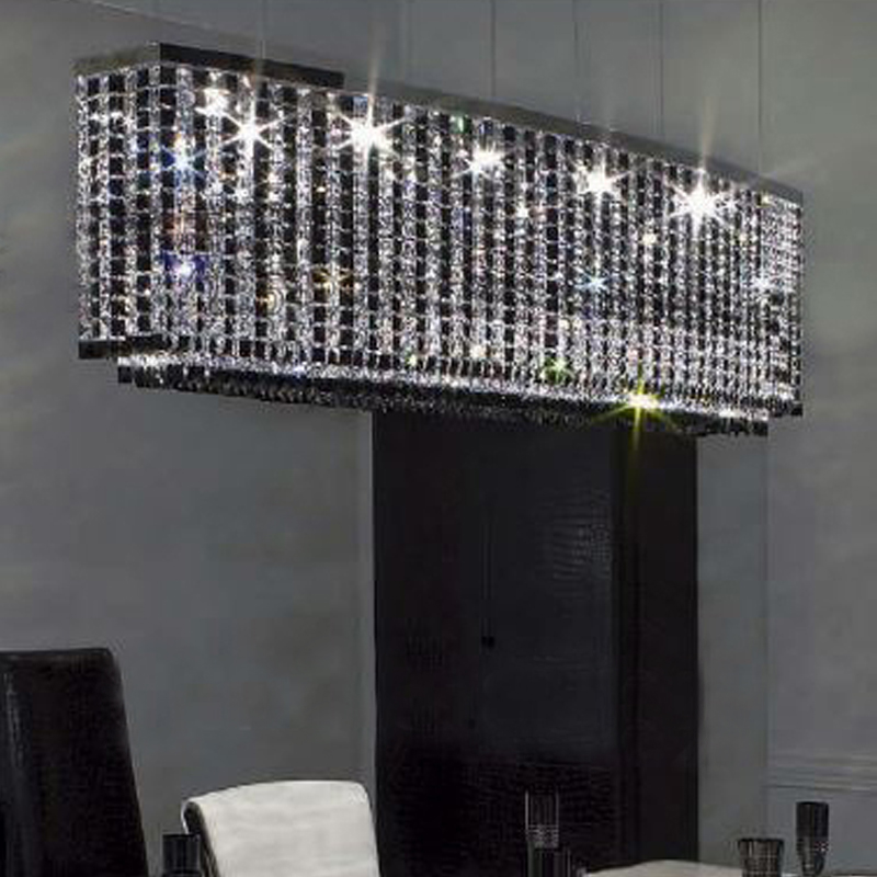 black clear crystal pendant lights E14 bulb lamp oblong dinner room lighting fixture - F8 manufacturer -chandelier,project ,LED store