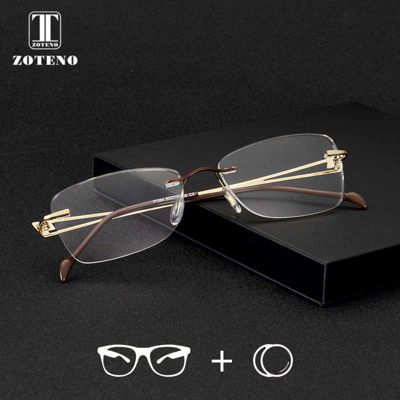 Zoteno Rimless Prescription Eye Glasses Women Progressive Photochromic Anti Blue Ray