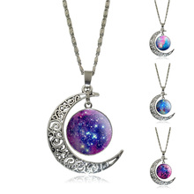 Fashion Crescent Moon Necklace Galaxy Star Nebula Dome Glass Pendant Statement Jewelry Silver Chain Necklace for Women Gift