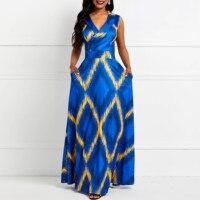 Elegant Blue Party Plus Size Office Lady Women Long Dresses Casual Sexy Club Summer Print High Waist Streetwear Female Dress