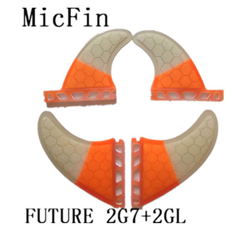 2017 4 pcs/Lot haute qualité planche de surf futur FCS II ailerons avec fibre de verre miel peigne matériel taille 2pcsG7 + 2 pièces GL quad ailerons